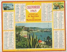 Calendrier , Grand Format , 1965 , Offert Par Le Service De Nettoiement , Antibes , Juan Les Pins , Frais Fr : 1.95 E - Calendars