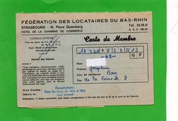 Carte De Membre  ('Fédération  Des Locataires ) 2 Scan - Erinnofilia
