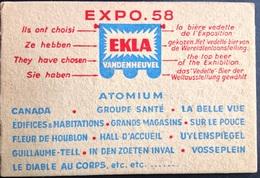 Expo 58 Ekla Vandenheuvel La Bière Vedette De L Exposition -sous Bock - Expositions Universelles