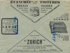 Old Envelope With Publicité: Typewriters HERMES-Zurich Ass.-1937- Verso: Le Projecteur ANTI BROULLARD  ( 2 Scan ) - Entiers Postaux