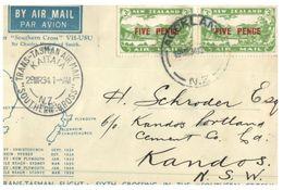 (525) New Zealand - Australia - Trans Tasman Air Mail - 29 March 1934 - Airmail