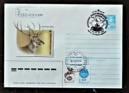 URSS, RUSSIE,  WWF, CERF, Entier Postal Emis En 1988 Avec Obliteration Oiseau - Brieven En Documenten