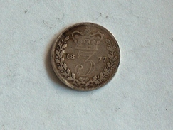UK 3 PENCE 1877 THREE GRANDE BRETAGNE Silver Argent - 1816-1901 : Frappes XIX° S.