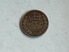 UK 3 PENCE 1900 THREE GRANDE BRETAGNE Silver Argent - 1816-1901 : Frappes XIX° S.