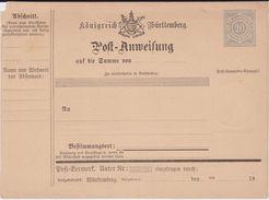 Württemberg Ganzsache A 13 Ungebraucht Ca 1876 - Wuerttemberg