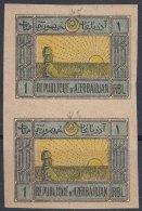 Azerbaijan 1920 Mi#5 Y (grey/yellow Paper) Mint Never Hinged Vertical Pair - Azerbaïdjan
