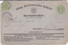 Württemberg Ganzsache P 4 ZF K3 Tuttlingen N Heilbronn 1872 - Wuerttemberg