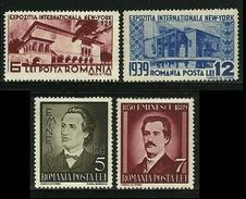 ROMANIA 1939 - NEW YORK + Poeta Eminescu - N. 566 / 69 * Serie Compl. - Cat. 6 € - Lotto N. 1410/11 - Neufs