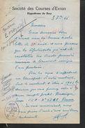 EQUITATION LETTRE COMMERCIALE DE 1946 SOCIETE DES COURSES D EVRON HIPPODROME DE BRAY : - Equitation