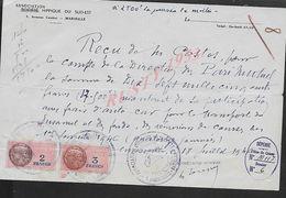 EQUITATION REÇU AVEC TAMPON COMMERCIALE DE 1946 ASSOCIATION HIPPIQUE DU SUD EST MARSEILLE  : - Equitation
