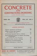 Concrete And Constructional Engineering, April 1961 Vol LVI. NO. 4 - Architecture/ Design