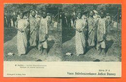 """CPA Stéréoscopique Julien Damoy """" Jardin D'aclimatation - Groupe De Jeunes Achantis """" LJCP 50 B - Stereoscope Cards"""