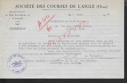 EQUITATION LETTRE AVEC TAMPON COMMERCIALE DE 1943 SOCIETE DES COURSES DE L AIGLE : - Equitation