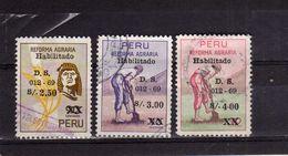 PERU' 1969 AGRARIAN REFORM LAW LEGGE RIFORMA AGRARIA HABILITADO OVERPRINTED COMPLETE SET USATO USED OBLITERE' - Pérou