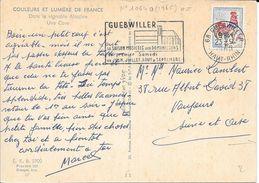 HAUT RHIN 68  -  GUEBWILLER   -  FLAMME N° 1064a   - VOIR DESCRIPTION  - 1965  SUR CP VDANS VIGNOBLE ALSACIEN - Marcophilie (Lettres)