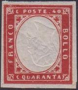 Sardegna 1861 40 C. Rosso Carm. Effige Capovolte ( Sass. 16D ) Con Gomma Integra. MNH Cert. Biondi. - Sardinia