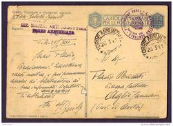 1943 SEZ. MILIZIA ART MARITTIMA TORRE A. X AOSTA - CARTOLINA  PER LE FORZE ARMATE - FRANCHIGIA - BASSORILIEVO - Franchigia