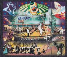 Yugoslavia 2002 EUROPA - Circus Block, Used (o) Michel Block 53 - Gebraucht