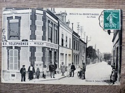CPA RILLY LA MONTAGNE LA POSTE Caisse D'Epargne Ecrite Circulée 1923 Animée - Rilly-la-Montagne