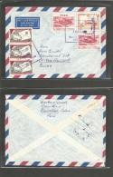 Peru. 1957 (29 Dic) Pucallpa - Switzerland, Rheinead. Air Multifkd Env + Christmas Noel Triple Label Usage On Front. VF. - Pérou