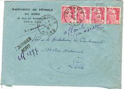 AFFRANCHISSEMENT 4 GANDON 12F TARIF RECOMMANDE PROVISOIRE FOURMIES 3E ECHELON - 1921-1960: Moderne