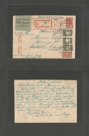 Russia. 1934 (25 Sept) Moscow - Sweden, Stockholm. Registered Air Multifkd 10k Red Stationary Card. VF + Bilingual Air L - Russia & URSS