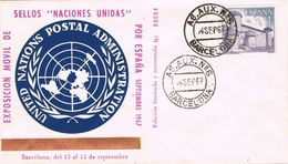 26009. Carta BARCELONA 1967.  Naciones Unidas ONU, Agencia Auxilar Num 6 - 1931-Hoy: 2ª República - ... Juan Carlos I