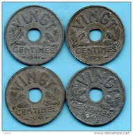 H/  FRANCE  VINGT  (20)  Centimes .1941     Etat Français  ZINC  1 Coin - E. 20 Centimes