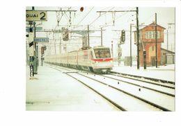 Cpm - TRAIN Italien FS - ETR 460 PENDOLINO - Locomotive - LE FREJUS - MILAN-LYON Poste 2 D'AMBERIEU EN B - Neige - Trains