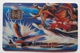 Polynésie Française Télecarte PF 14Aa Pêche Aux Cailloux Lot N°00235 Recto Glacé  Verso Rose - Polynésie Française