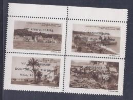 4 Vignettes Exposition Philatelique Nice 1935 * Surchargé Bourse Aux Timbres - Philatelic Fairs