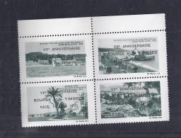 4 Vignettes Exposition Philatelique Nice 1935 ** Surchargé Bourse Aux Timbres - Philatelic Fairs