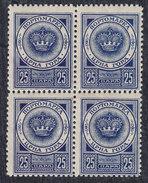 Montenegro 1921 Gaeta, Porto 25p, Block Of 4, MNH (**) - Montenegro