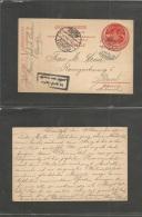 Turkey. 1914 (19 Dec) Daridja - Switzerland, Basel. 20p Red Stationary Card. WWI + Censored Cachet. VF. - Turkey
