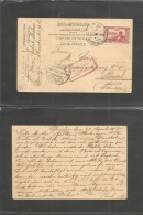 Turkey. 1915 (23 April) Daridja - Switzerland, Basel. Fkd Card Bilingual Cds + WWI Censor Mail Weat Cds. VF. - Turkey