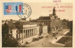 A-17.9506 : CARTE  CACHET TEMPORAIRE LA GRANDE SEMAINE DE TOURS 14 MAI 1949 VISITE DU PRESIDENT DE LA REPUBLIQUE. - Curiosa: 1945-49 Brieven & Documenten