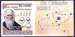 Sao Tome 2009 MNH Imperf, Darwin, Evolution Of Human Beings, Skull - Preistoria