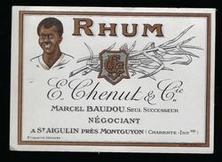 """Etiquette Rhum E Chenut Et Cie Marcel Baudou Seul Successeur  St Aigulin Charente Inférieure """" Visage Homme"""" - Rhum"""