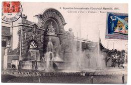 BOUCHES Du RHONE - Dépt N° 13 = MARSEILLE TROIS MAGES 1908 = CACHET MANUEL + CPA EXPOSITION D' ELECTRICITE - FONTAINES - Cachets Manuels