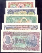 ALBANIA 10, 50, 100, 500 And 1000 Leke  1957  P28-32   UNC - Albanie