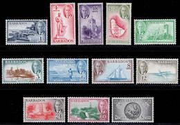 Barbados 1950 MNH/MH Set SG 271/282 Cat £55 - Barbados (...-1966)