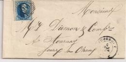 BRIEF VERTREKKEND THOUROUT 6 JUIN 1859 AFSTEMPELING P116   MET BESTEMMING TOURNAI AANKOMST  6 JUIN 1859 - 1858-1862 Medallions (9/12)