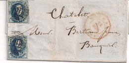 BRIEF VERTREKKEND TOURNAY 21 OCT 1851 AFSTEMPELING P120 MET BESTEMMING CHATELET - 1851-1857 Medallions (6/8)
