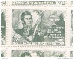 TRASLADO DE LOS RESTOS DE LOS PADRES DEL GENERAL JOSE DE SAN MARTIN AÑO 1947 OFFSET MNH TBE FILIGRANA SOL CON RAYOS RECT - Argentina