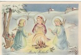 14120) AUGURALE BUON NATALE TRE ANGELI ILLUSTRATORE MADALI NON VIAGGIATA - Noël