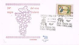 26020. Carta CASARSA PN) Italia 1972. Vino De Friulano. Wein - 1971-80: Marcophilia