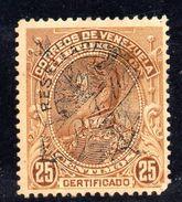 T1279 - VENEZUELA 1900 , Raccomandate 25  Cent Soprastampato RESELLADA Yvert N.2.Usato - Venezuela