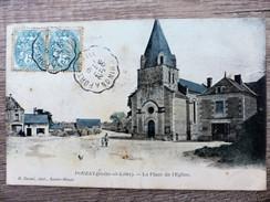 CPA POUZAY Indre Et Loire LA PLACE De L'EGLISE Circulée 1905 Animée Ecrite - Otros Municipios