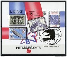 Kiribati, 1989, Philexfrance, World Stamp Expo, Stamps On Stamps, UPU, MNH, Michel Block 16 - Kiribati (1979-...)