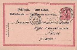 ALLEMAGNE - CACHET AMBULANT ENTREE - PARIS A LA MEDITERRANEE C - 18 MAI 1888- ENTIER POSTAL DE HANNOVER (P1) - Postmark Collection (Covers)